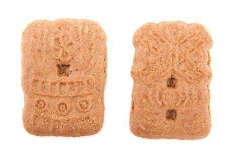 speculaas: Speculaas as typical Dutch Sinterklaas biscuit isolated over white Stock Photo