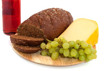 bread and wine: Fresh whole meal bread wine cheese and fruit