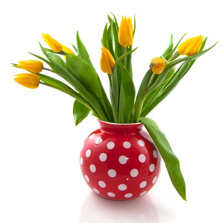 speckles: Red speckles vase with yellow tulips isolated over white