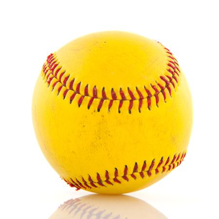 attribute: Yellow baseball as sport attribute isolated over white Stock Photo