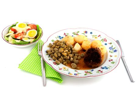 Simple daily meal with vegetables meat ball and salad Stock Photo - 5878495