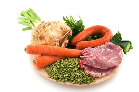 rooted: Ingredients as vegetables and meat for Dutch pea soup