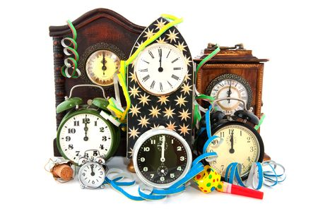 Twelve O'Clock with fireworks at new years eve Stock Photo - 5878589