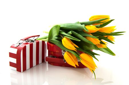 red and white suitcase with yellow tulips photo