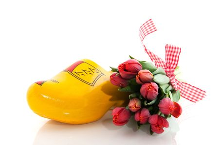 Dutch national products with clogs and tulips Stock Photo - 5919723