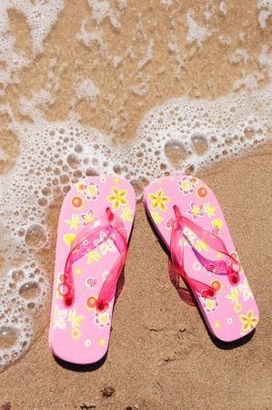 summer vacation at the beach with flip flops in the water Stock Photo - 5920577