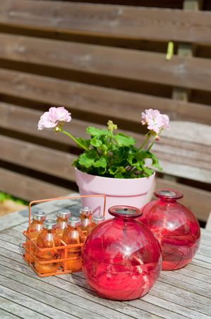 Flowers and colorful decoration in the garden photo