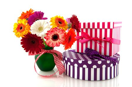 beautiful bouquet colorful Gerber with presents for birthday photo