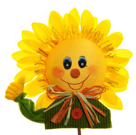 smiling sunflower with hand high isolated over white photo
