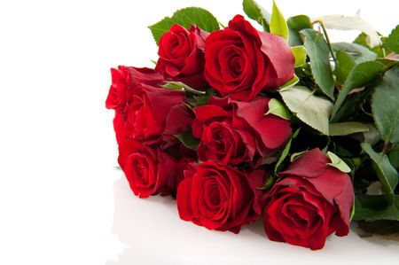 bunch of red roses: Bouquet of red roses isolated over white Stock Photo
