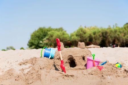 built: sand castle on the beach built by a child