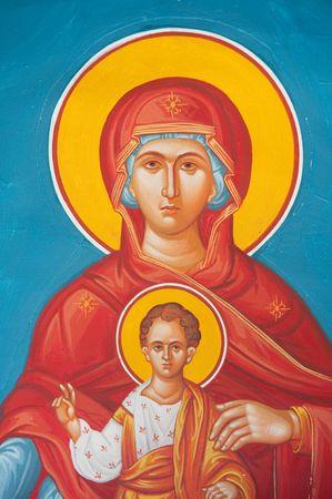 Greek orthodox virgin Mary as a fresco in little chapel photo