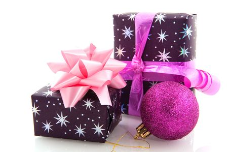Christmas presents in purple pink and silver