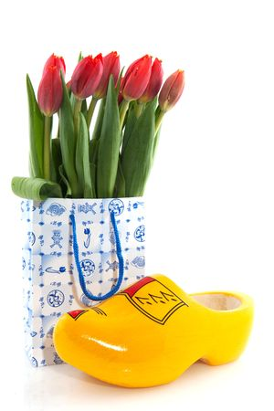 Dutch national products with clogs and tulips Stock Photo - 5962202