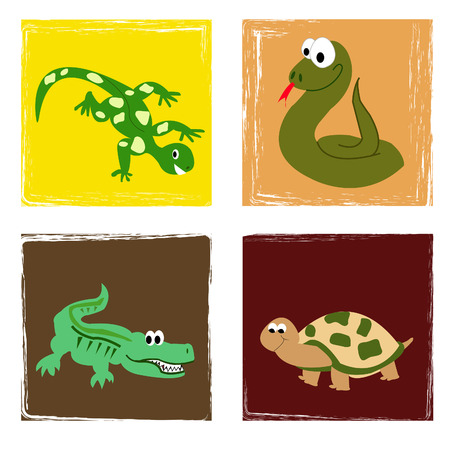 Simple drawing from cartoon reptiles in grungy background Stock Vector - 5980215