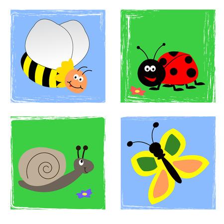 butterfly ladybird: Jard�n de insectos de verano en el cielo y en el suelo