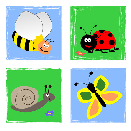 bee garden: Summer garden insects in sky and at the ground Illustration