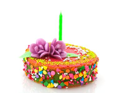 colrful: Fancy birthday cake with colorful confetti isolated over white Stock Photo