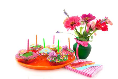 colrful: Fancy birthday cake with colorful bouquet flowersi isolated over white Stock Photo