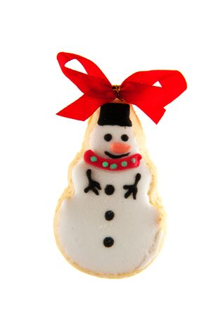 ginger bread cookie christmas snowman with red bow photo