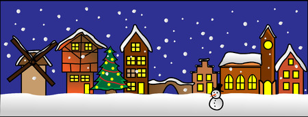 A street in a little christmas village with tree and snowman Vector