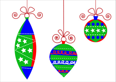 different shapes: artless simple christmas balls hanging on the white background