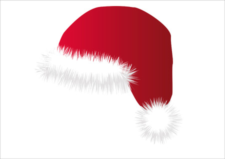furred: Santas cap in red with furred isolated over white
