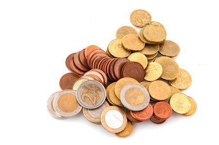 piles with Euro coins isolated over white Stock Photo - 6028175