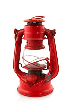 red oil lamp: Old vintage oil lamp to make light isolated over white