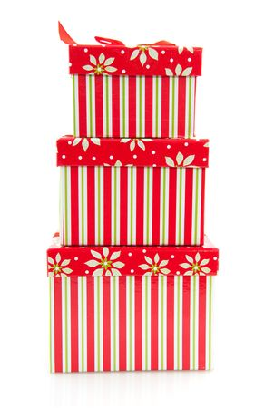 pile with striped christmas presents from big to little Stock Photo - 6047774