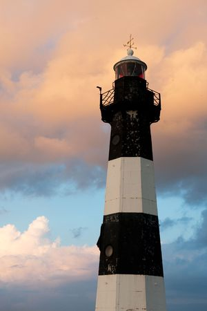 zeeland: Lighthouse from Breskens in Holland by sunset