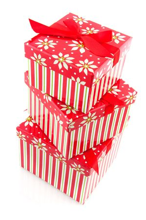 pile with striped christmas presents from big to little Stock Photo - 6091283