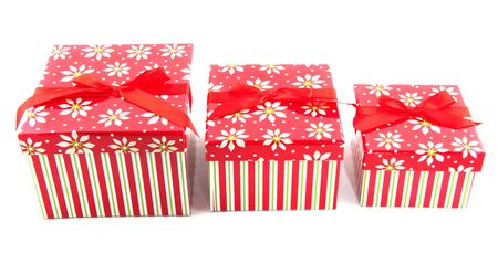 row with striped christmas presents from big to little Stock Photo - 6091270