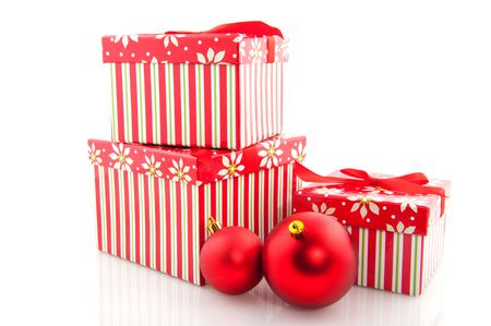 pile with striped christmas presents from big to little Stock Photo - 6108689