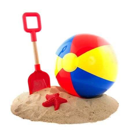 Plastic colorful ball and toys for at the beach