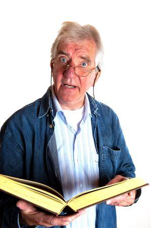 Portrait of an elderly man who is telling a story in studio photo