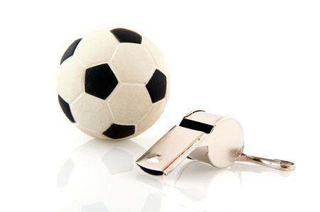 arbiter: Attributes for playing soccer sports isolated over white