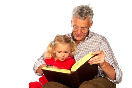 stories: Grandfather is telling a story to his grandchild