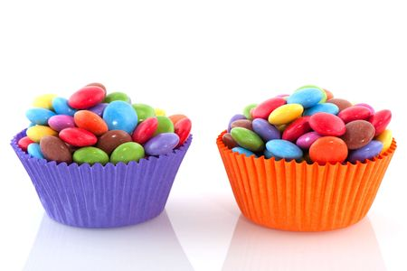 colorful candy sweets two cup cake papers Stock Photo - 6170867