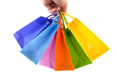 shopping with many colorful bags in the hand Stock Photo - 6170946