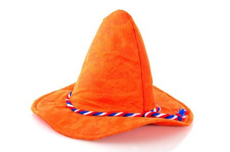 traditonal: Dutch hat in traditional colors for sport supporters Stock Photo