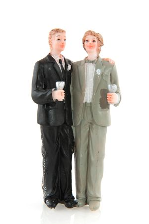 gay wedding with two man and champagne photo