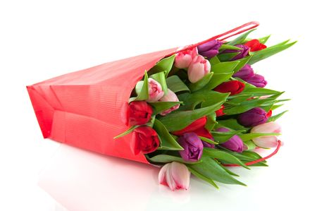 mixed flower bouquet: colorful tulips in pink purple and red