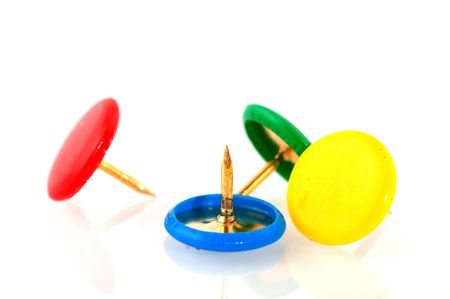 affix: Colorful pushpins in red blue yellow and green