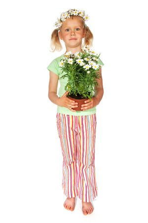 tailes: Little girl with flowers to give as a present Stock Photo