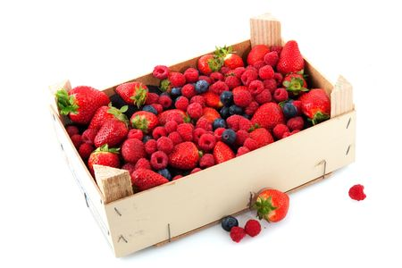 Wooden crate full with fresh and healthy fruit photo