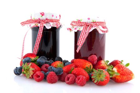 Jam with a diversity of fruit from the season photo