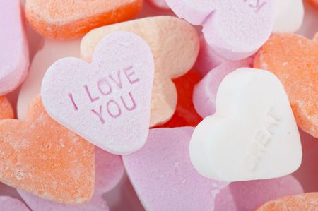 Love candy in colorful sweet hearts for Valentine photo