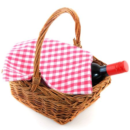 picnic basket with a bottle of wine and checkered cloth Stock Photo - 6351722