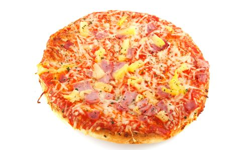 American pizza with pineapple and ham isolated over white photo